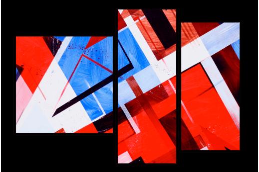Модульная картина  Красный кубизм