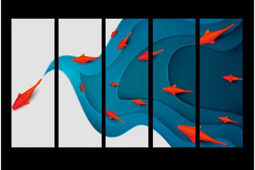 Модульная картина Бумажные рыбки